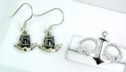 Sterling Anchor Earrings & Ring