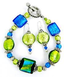 Vibrant Art Glass Bracelet and Earrings