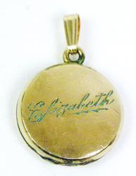 Antique Gold-Filled Locket, Engraved Elizabeth