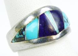 Blue & Purple Turquoise Sterling Ring