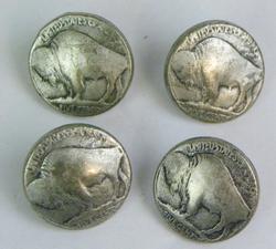 4 Vintage Buffalo Nickel Coin Buttons