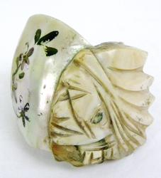 Rare Carved Shell Napkin Ring with Indian