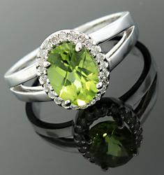 Peridot w/ Diamond Halo Band