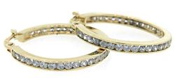 CZ Hoop Earrings in 14K