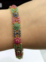 Gorgeous Precious Gemstone & 14KT Gold Bracelet