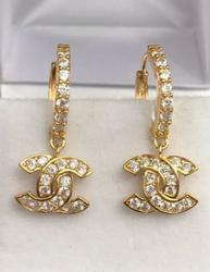 18kt Gold Hoop Dangle Earrings
