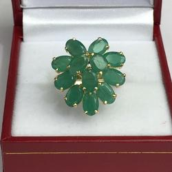 6 Carat Emerald and 14kt Gold Cocktail Ring