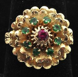 Vintage 14kt Gold Ruby & Emerald Ring