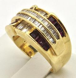 Ladies 2ctw Diamond & Ruby Ring, 14kt Gold