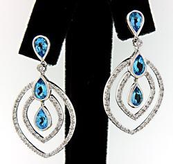 Blue Topaz & Diamond Dangle Earrings