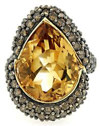 Citrine & Mocha Diamond Cocktail Ring