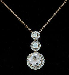 Morganite & Diamond 3 Halo Pendant Necklace