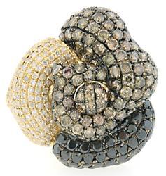 7.08  CTW Multi Diamond Flower Ring