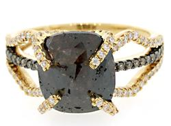 Mocha & White Diamond Ring in 18K