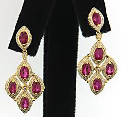 Diamond & Ruby Dangle Earrings