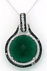 Bold Green Agate & Diamond Pendant Necklace