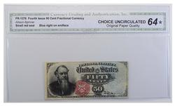 Ch Unc STAR Fourth Issue 50 Cent Fractional Currency CGA Graded