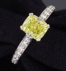 Fancy Intense Yellow Diamond Ring, GIA Certified