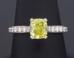 GIA Certified Intense Yellow & White Diamond Ring