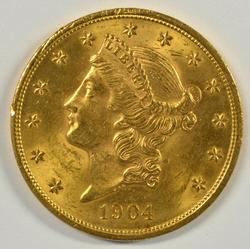 Investment Quality BU 1904 $20 Liberty Gold Piece