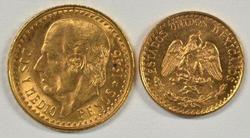 Superb Gem BU 1945 Mexico 2 & 2.5 Pesos Gold Pieces