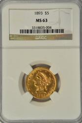 Semi-Prooflike BU 1893 $5 Liberty Gold Piece. NGC MS63