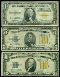 3 Diff. North Africa Silver Certificates: $1, $5, & $10