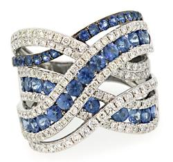 Wide Criss Cross Band with Diamonds & Sapphires