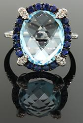 Blue Topaz, Blue Spinel & Diamond Band