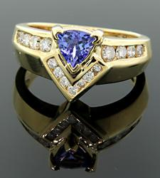 Tanzanite & Diamond Chevron Ring