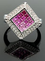 Colorful  Square Top Ruby, Sapphire & Diamond Ring