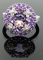 Vivid Amethyst & Diamond Band
