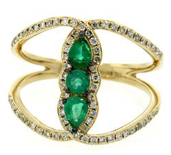 Emerald & Diamond Saddle Style Ring