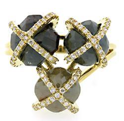 Unusual Multi Color Gemstone Band with Diamonds