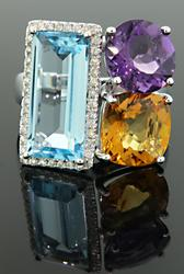 Gemstone Ring with Diamonds