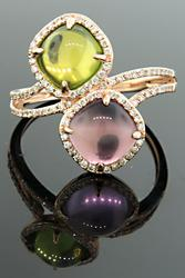Colorful Mixed Gemstone Bypass Ring with Diamonds