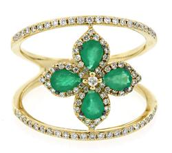 Emerald Flower Ring with Double Band and Diamonds