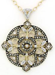 2.50CTW White & Mocha Diamond Medallion Necklace