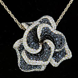 Black & White Diamond Flower Pendant Necklace