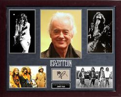 Jimmy Page Led Zeppelin Signed Paper Cut Photo Display
