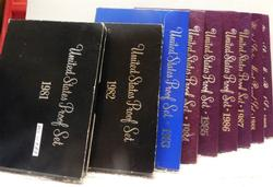 9 x Proof Sets:  1981 through 1989