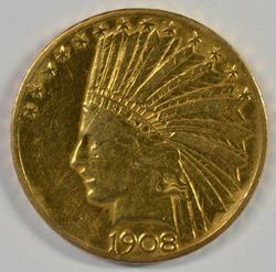 Very Scarce 1908-S US $10 Indian Gold Piece