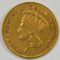 Super Rare 1856-S US $3 Gold Piece. High end XF