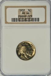 Superb Gem BU 1937 Buffalo Nickel. NGC MS66