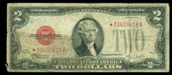 Scarce 1928-F $2 Red Seal STAR Note in circ.