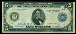 Handsome 1914 Series Large $5 Blue Seal Fed Res Note