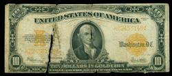 Low end 1922 Series $20 Gold Certificate. Tear