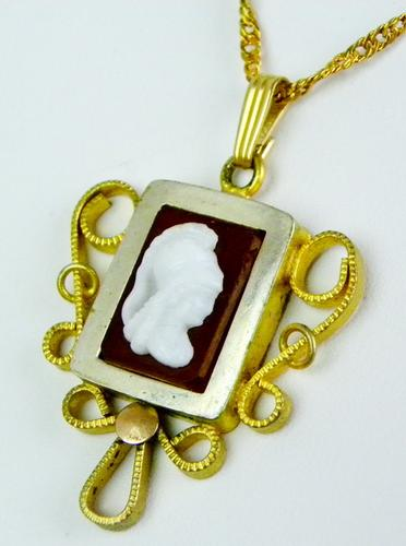 Early gold filled cameo pendant chain usauctiononline early gold filled cameo pendant chain mozeypictures Gallery