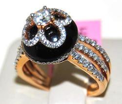 Black Agate & Diamond Ladies 18kt Gold Ring