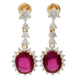 6.97 ctw. Ruby and Diamond Earrings